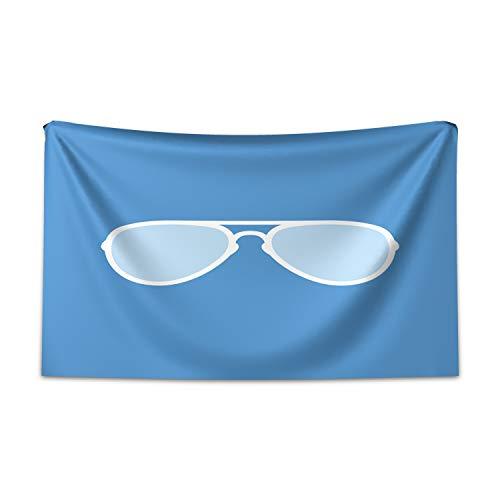 ABAKUHAUS Vintage Blue Wandteppich und Tagesdecke, Aviator Sonnenbrille aus Weiches Mikrofaser Stoff Kein Verblassen Klare Farben Waschbar, 230 x 140 cm, Weiß und Blau