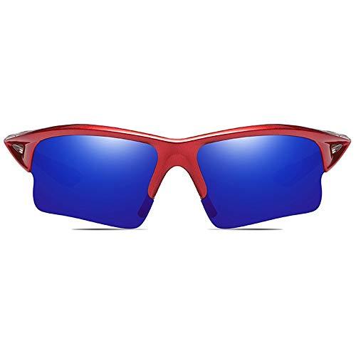 WULE-Sunglasses Unisex New Radfahren Outdoor-Sportarten PC Material Sonnenbrillen Roter Rahmen Gelb Grün/Dunkelblau Linse Männer und Frauen mit der gleichen polarisierten, blendfreien Sonnenbrille