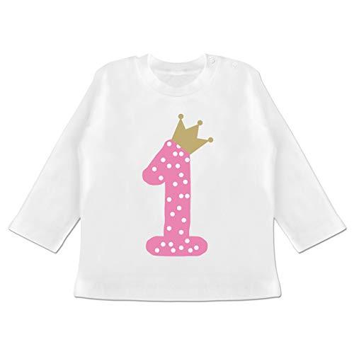 Geburtstag Baby - 1. Geburtstag Krone Mädchen Erster - 6-12 Monate - Weiß - BZ11 - Baby T-Shirt Langarm - 7. Geburtstags-shirt