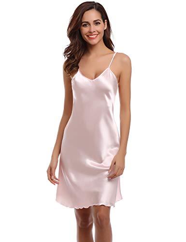 Aibrou Damen Sexy Negligee Nachthemd Satin Nachtkleid Nachtwäsche Unterwäsche Sleepwear Kurz Trägerkleid V Ausschnitt Rosa S Satin-damen-kleid