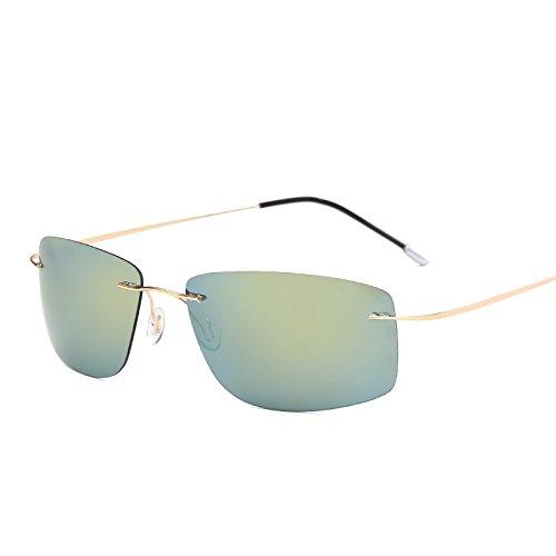 MinegRong mit Fall polarisiert Titan Silhouette Sonnenbrillen Polaroid Gafas Men Square Sonnenbrillen Sonnenbrillen für Männer Frauen, ZP 5447 mit Case C6