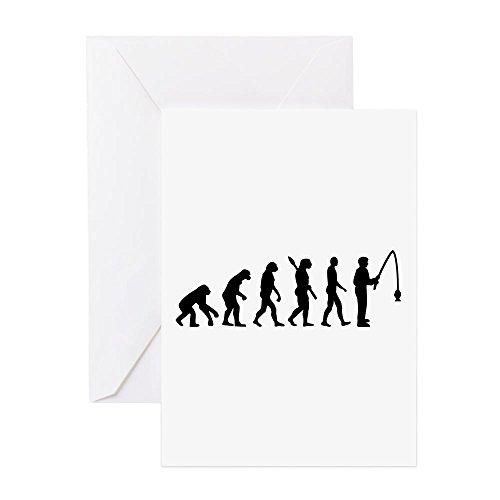 CafePress–Evolution Angeln Mann–Grußkarte, Note Karte, Geburtstagskarte, innen blanko, glänzend