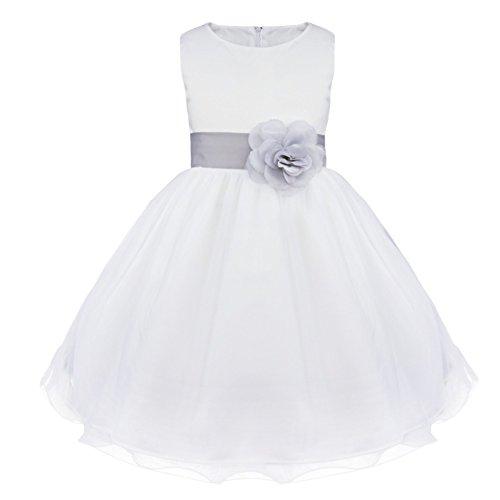 IEFIEL Vestido Blanco Fiesta Boda Bautizo Niñas Vestido