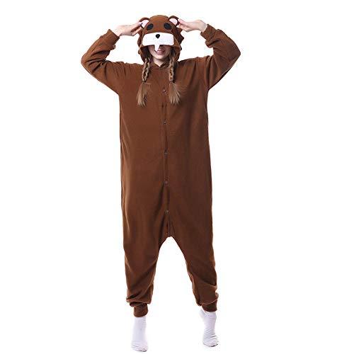 Dummer Bär Cosplay Pyjamas Bekleidung Animal Erwachsene Unisex Schlafanzüge Karneval Onesies Jumpsuits Anime Pajamas Hoodie Carnival Spielanzug Kostüme Weihnachten Halloween Nachtwäsche Mädchen (Mädchen Goofy Kostüm)