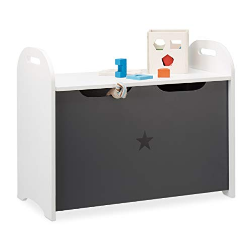 Relaxdays Spielzeugtruhe für Kinder, Stauraum für Spielzeug, Sitzbank m. Deckel, HBT 47x57x30 cm, Sternmotiv, Weiß-Grau
