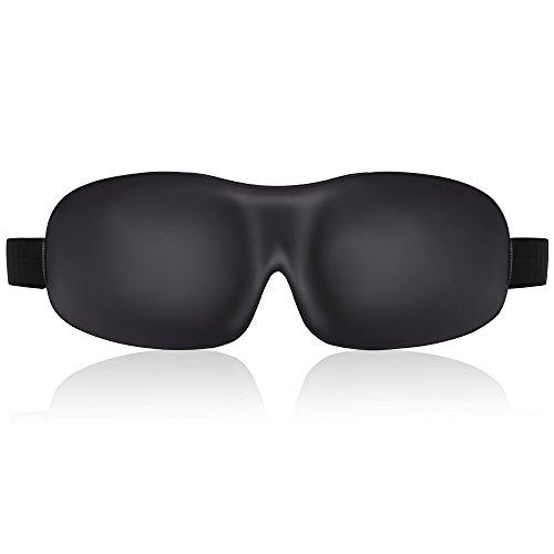 LONFROTE 3D Deep Sleep Maske Damen und Herren Schlafbrille Schlafmaske, mit Ohr Plug geformt und Tragetasche leicht & bequem Eye Maske, Super Weiches Material Schaumstoff Augenmaske(Schwarz)
