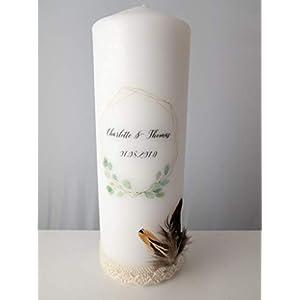 Taufkerze/Hochzeitskerze/Geburtskerze/Gedenkkerze Eukalyptus - Kranz - Blumenkranz - Baby - Hochzeit - Geburt - Boho - Geschenk - Kerze - Vintage - Blätter - personalisiert