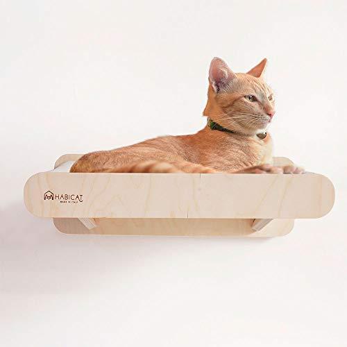 Habicat.it amaca comfort 50 - amaca cuccia da parete per gatti. in legno di betulla naturale e tessuto (cm.50)