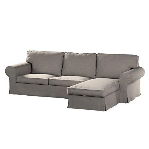 Dekoria Ektorp 2-Sitzer Sofabezug mit Recamiere Sofahusse passend für IKEA Modell Ektorp grau