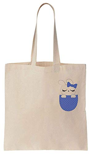 Sleepy Bunny With Purple Bow Sitting In Your Pocket Cotton Canvas Tote Bag ()