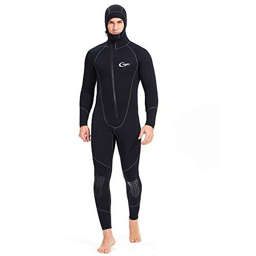 5MM néoprène Front Hommes Combinaison Conjoined YKK Zipper Capuche Design Costume Chaud à Froid Surf Costume Méduse Vêtements Plongée Surf Natation Sports Nautiques,S