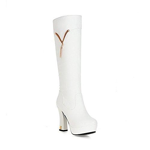 AgooLar Damen Hoher Absatz Rein Reißverschluss Stiefel mit Metalldekoration, Weiß, 34