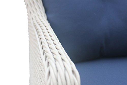 Rattan Gartenmöbel – Garten Lounge Set – Klassisch. Elegant. Komfortabel. – Weißton. Wetterfest. Aluminiumrahmen. Kissenauflagen 10 cm – Rattan Lounge aus Polyrattan Sitzgruppe Garnitur – hervorragende Verarbeitung – top Qualität – preisgünstig (2-Sitzer Sofa im Set, Weiß mit brauner Struktur – Karamel) Bild 5*