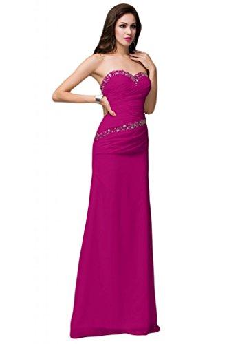 Sunvary imbottito decorato con strisce di tessuto pieghettato, con parte posteriore aperta Bridesmaid Prom Gowns rosa fucsia