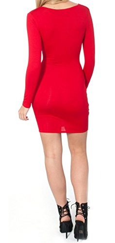 Re Tech UK - Robe - Moulante - Manches Longues - Femme noir noir 36 red