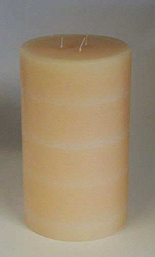 Landhaus Kerze modern mit 3 Dochten, Champagner 20x12 cm - 4009 - 3 Docht Kerze mit Struktur im Landhausstil. Eine schöne Kerze für Ihr Zuhause.