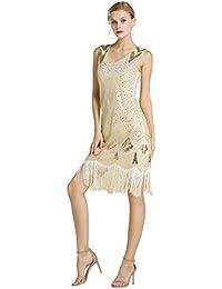 Kaiyei Mujeres 1920 s Gran Gatsby Vestido de Lentejuelas con Cuentas Vestido de Baile Latino para