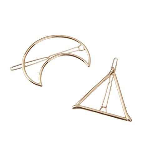 PIXNOR 2pcs Capelli Forcine Delicati capelli Clip Pin artiglio capelli accessori Barrettes - triangolo Moon (oro)