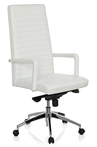hjh OFFICE 660936 chaise de bureau, fauteuil de direction LENGA blanc en cuir, avec accoudoirs, dossier haut avec surpiqûres horizontales, piètement robuste et stable en alu, ergonomique et confortable
