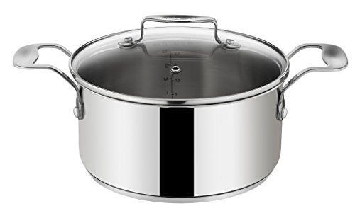Tefal E79162 Jamie Oliver Induction cooking pot with glass lid, 24 cm in diameter, 6.7 L, suitable for induction, stainless steel
