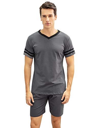 Hawiton Herren Schlafanzug Kurz Sommer Pyjama Nachtwäsche Set Kurzarm Shorty Baumwolle mit Streifen Dunkelgrau M - Streifen-pyjama-set