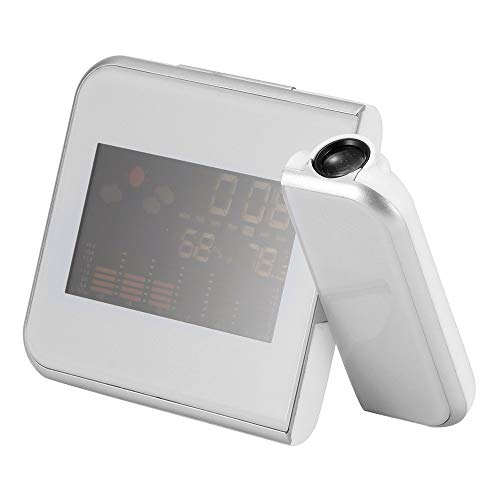 TiooDre Proiettore Sveglia, Grande LED Curvo-Schermo Digitale Radio FM Proiettore a soffitto Sveglia Radio Sveglia Digitale con Porta USB Luminosità Regolabile, per la casa