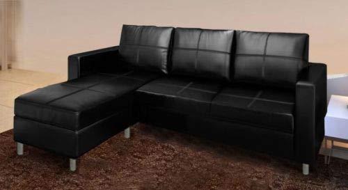 Divano Componibile Angolare.Gstore Divano Componibile Angolare A 3 Posti In Ecopelle Bianco E Nero Divanetto Sofa Nero