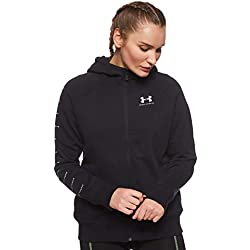 Under Armour Rival Fleece Sportstyle LC Sleeve Graphic Sudadera con Capucha, Mujer, Negro (Black/Onyx White 001), S