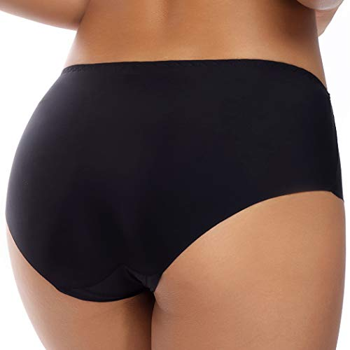 WOWENY Damen Slips aus Nylon und Elastan, glatt, unsichtbar, 3er-Pack - Schwarz - Mittel - 3