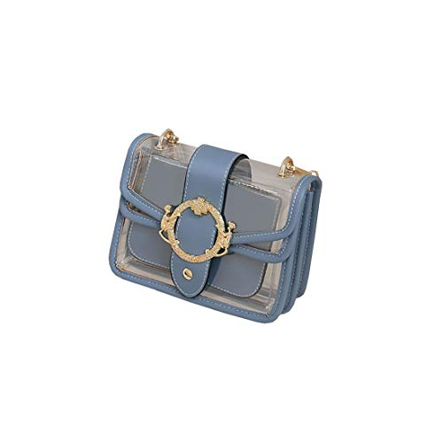 ZY Größe Zwei Transparente Damen Handtasche Jelly Multicolor Handtasche,Light Blue-OneSize Sicherheits-verkabelung