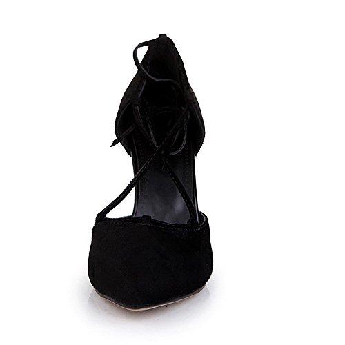 Voguezone009 Femme En Plastique Pur Talon Aiguille Bout Pointu Lacets Ballerines Noir