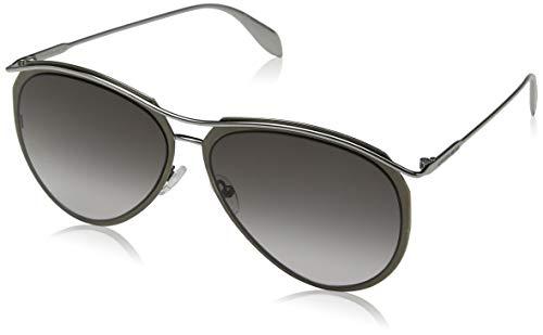 Alexander McQueen Herren AM0115S 001 60 Sonnenbrille, Silber (001-Silver/Grey)