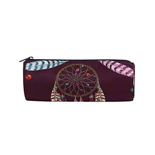 Estuche para lápices con forma de cilindro y plumas tribales, atrapasueños, colorido, bolsa de papelería con cremallera para maquillaje