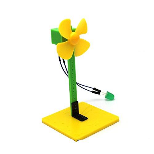 BGNing Mini Wind Power Grün LED Blowing Generator Windmühle Spielzeug Kit 7,5 * 7,5 * 14 cm für Wissenschaft Bildung Experiment Demo Generator - Glühbirne Experiment