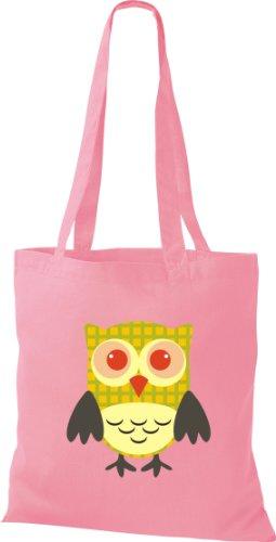 Owl niedliche diverse rosa Retro Karos Punkte Tragetasche Eule Stoffbeutel mit streifen Bunte Farbe v8E7nx4