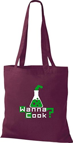 Borsa In Cotone Tote Bag In Cotone Provetta Provetta Cottura Colore Rosa Vino Rosso