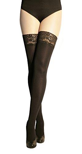 #Marilyn blickdichte halterlose Strümpfe mit 9 cm Spitze, 100 Denier, Größe 42 (XL), Farbe Schwarz (nero)#