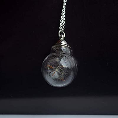 Pissenlit Graine Faire Un Souhait Vraie Fleur Ouvrable Cylindre Verre Boule Argent Sterling 925 Colliers avec pendentifs
