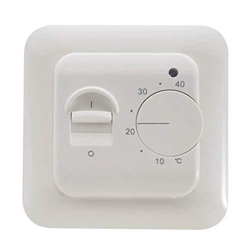 Universal Programmierbare Thermostat (Thermostat-Schalter Regler Fußboden-Temperaturregler Warm Universal Nicht programmierbar Elektrisch Manuell Analoge Rauminstrumente Mechanische Heizung Dual, weiß)