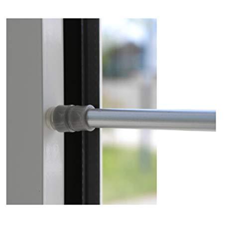 Klemmstange für Fenster Gardine Länge wählbar bis 120 cm, ausdrehbar mit Saugknopf (Silber 80-120 cm)