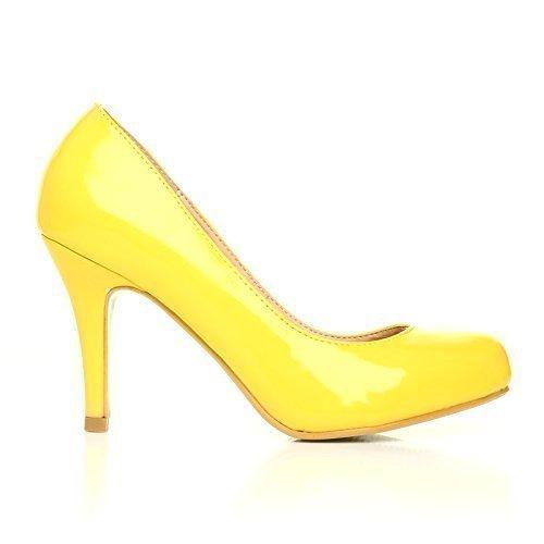 Leder-patent Leder Heels (Pearl gelber Leder Stiletto, High Heel, Patent PU - Gelb, Synthetisch, 7 UK / 40 EU)