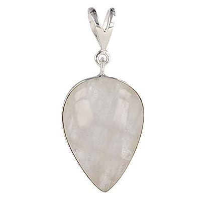 Idée cadeau Maman-Pierre de lune naturelle-Pendentif blanc Forme poire inversée-femme