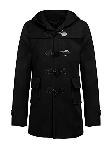 Finejo Herren Mäntel Zweireiher Windmantel Warm mit Kapuzen Stillvoll für männer PEA Coat (M, Schwarz-Kapuzen) (Kapuze Männer Pea Coat)