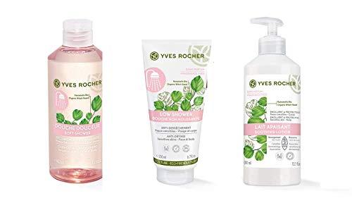 Yves Rocher trattamento Lenitivo completo Doccia, Gel Doccia Delicato + Crema Doccia Senza Schiuma + Latte Lenitivo