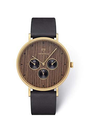 KERBHOLZ Holzuhr Uhr - Elements Collection Caspar analoger Herren Chronograph, Naturholz Ziffernblatt, echtes Lederarmband, Ø 42mm, Walnuss Schwarz Gold
