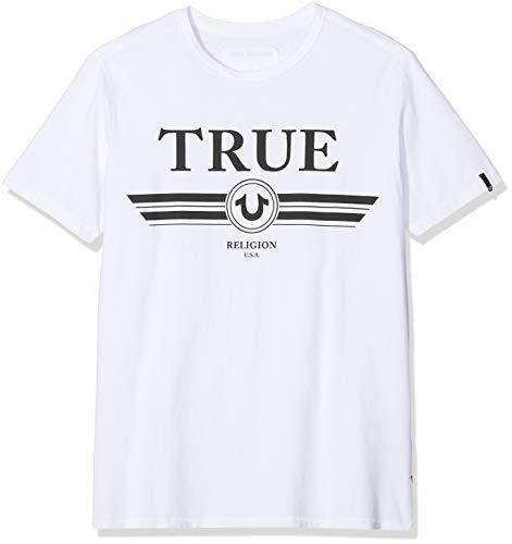 True Religion Herren Basic TRUCCI T-Shirt, Weiß (White 1700), Large (Herstellergröße: L)