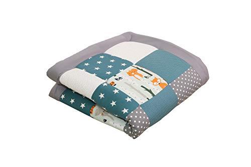 Alfombra para gatear de ULLENBOOM ® con bosque, verde, azul manta para bebé de 100x100 cm; ideal...