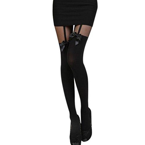 Ningsun autoreggenti vintage con collant set sexy donna calze a rete elegante a pizzo bowknot a metà coscia calze autoreggenti+caldo per cosplay natale (nero, taglia unica)