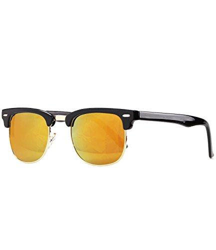 caripe Damen Herren Retro Sonnenbrille Vintage Clubmaster - clubma (Modell 1 - Hornstyle - braun getönt)