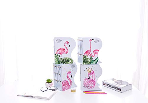 G4GIFT (Pack of 1) Flamingo Print Metal Fold-able Book-Rack, Book Shelf Stand Desk Organizer Multipurpose Use; Size: 19.5 cm X 9 cm X 14.5 cm (Pack of 1)(White)